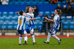 Kirsty Barton celebrates after scoring the winnert against Spurs (Photo: Geoff Penn/B&H Albion)