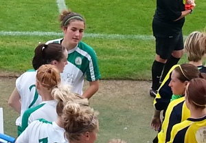 Emma Alexandre leads Chichester City out for their game against Gosport Borough Sep 14 2014
