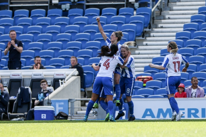 Kate Natkiel celebrates scoring Brighton's first goal against Sheffield FC, May 21 2017 (Photo: Geoff Penn/BHA)
